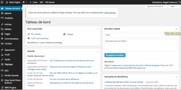 Capture d'écran interface utilisateurs WordPress