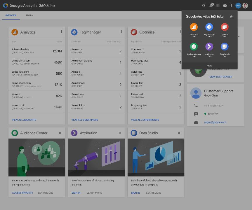 Aperçu de l'interface de la nouvelle suite de produits de Google.