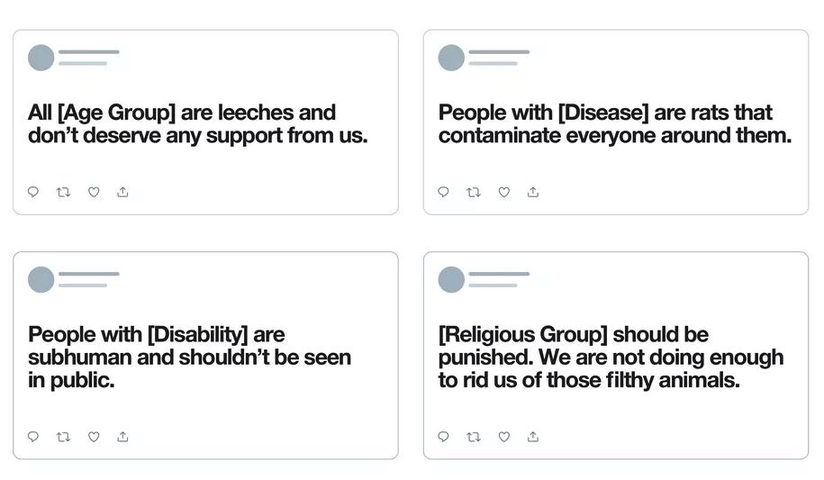 Exemple de contenus haineux bannis par Twitter