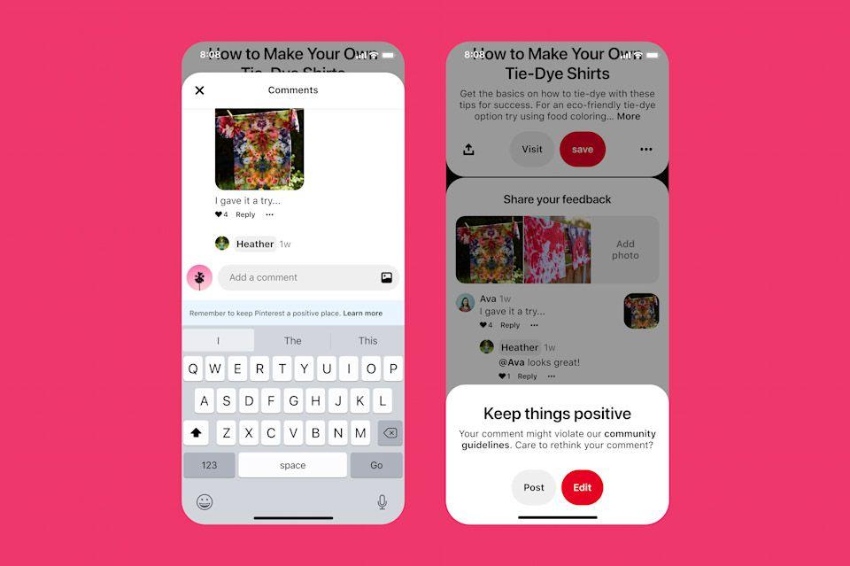 Aperçu des nouvelles fonctionnalités Pinterest pour continuer de faire de sa plateforme un espace sécurisé et bienveillant.