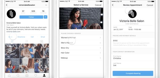Instagram fonctionnalité de réservation et de paiement in-app