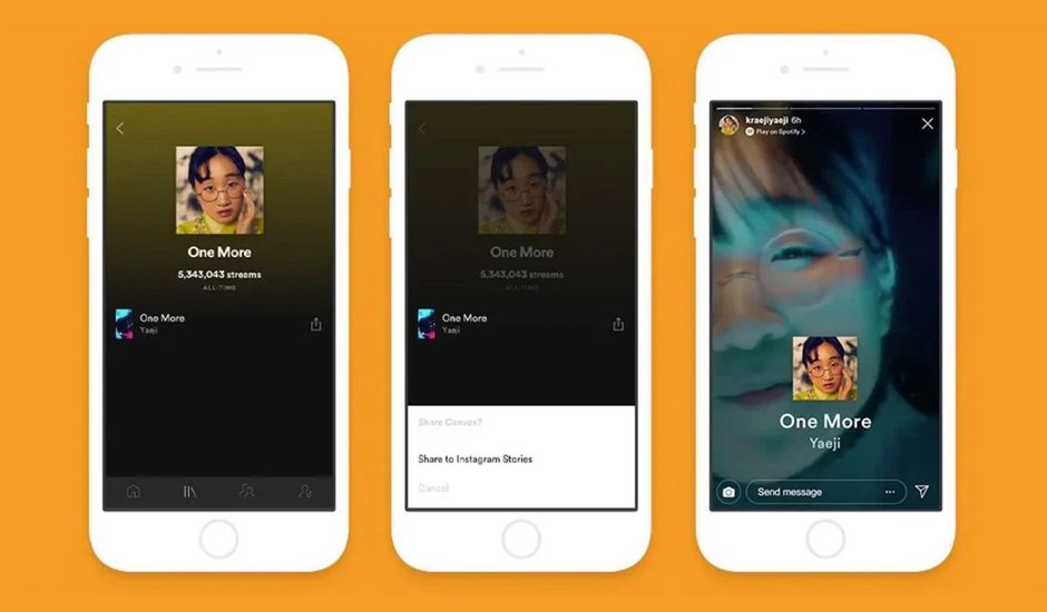 Les vidéos Canvas de Spotify dans les stories Instagram