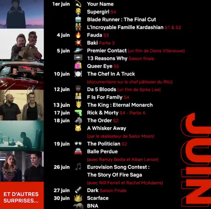 Agenda de juin 2020 sur Netflix