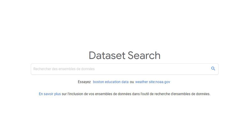 Impr. écran du moteur de recherche data de Google