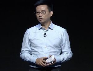 Le PDG d'Ant Group, Simon Hu, tient un discours lors d'une conférence.