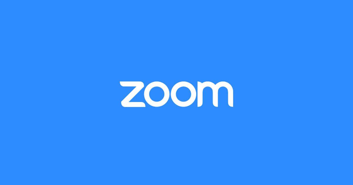 Le logo de Zoom sur un fond bleu.