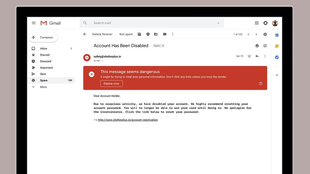 Gmail vous averti des mails dangereux