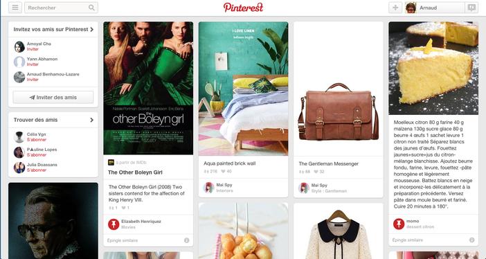 Pinterest page d'accueil