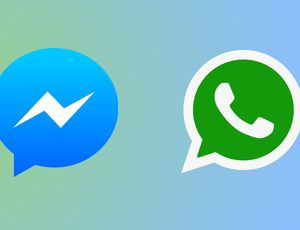 Coronavirus : les logos de WhatsApp et de Messenger sur fond dégradé bleu et vert.