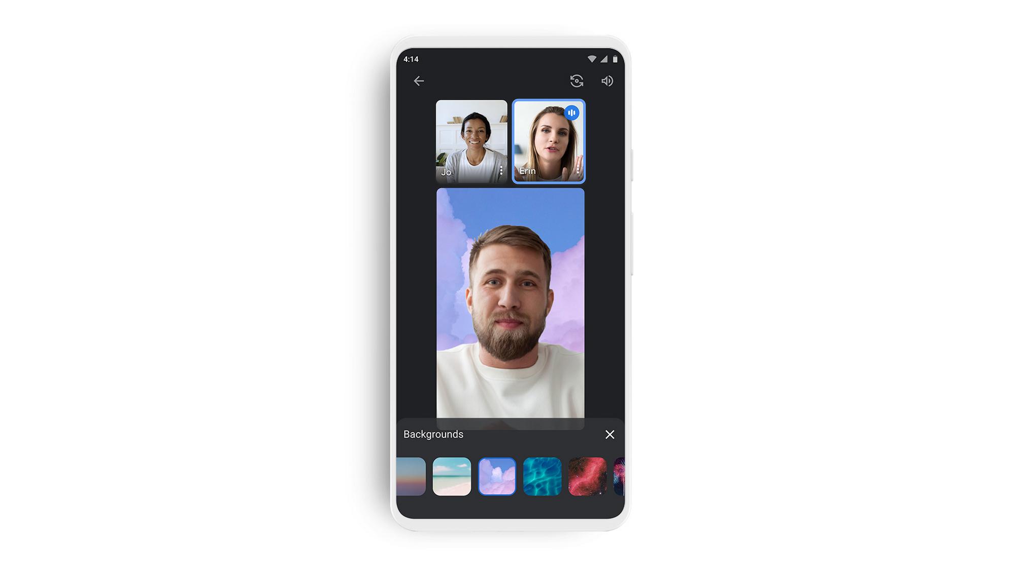 l'interface simplifiée de Google Meet sur smartphone