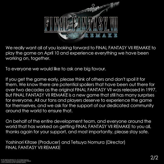 final fantasy VII square enix jeu video remake sortie avancée