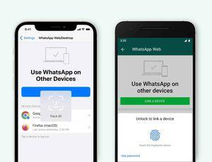 Un iPhone et un smartphone Android utilisant le système d'authentification biométrique de WhatsApp.