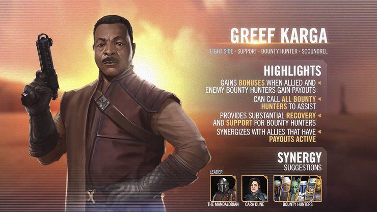 carte de présentation de Greef Karga dans le jeu mobile Star Wars : Héros de la Galaxie