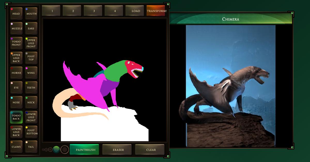Capture d'écran d'un exemple de création utilisant l'outil Chimera Painter