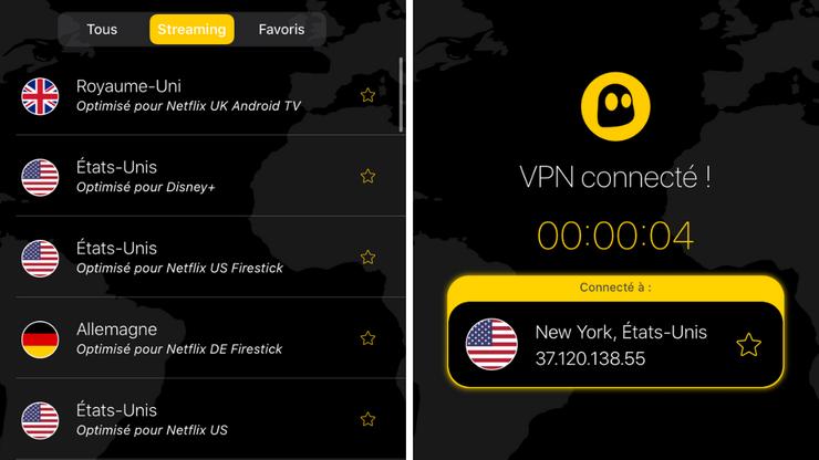 Captures d'écran de l'application CyberGhost VPN sur iPhone pour regarder Netflix aux USA