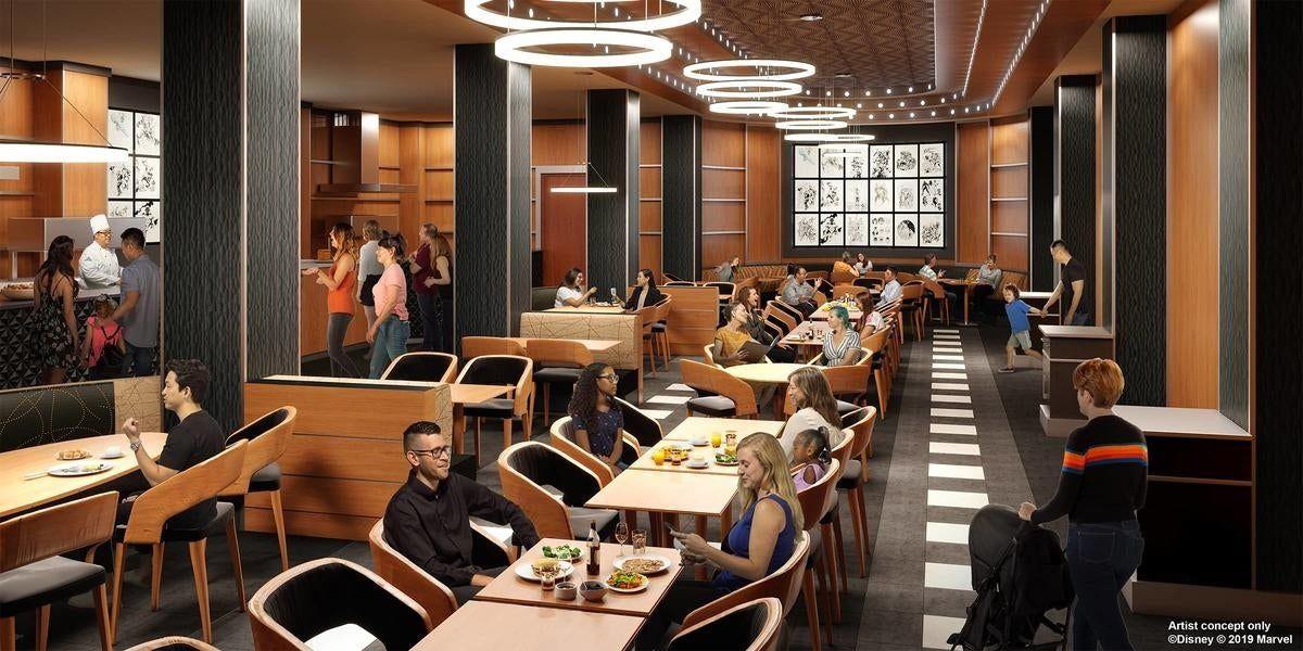 hôtel marvel à disneyland paris : vue sur le donwtown restaurant