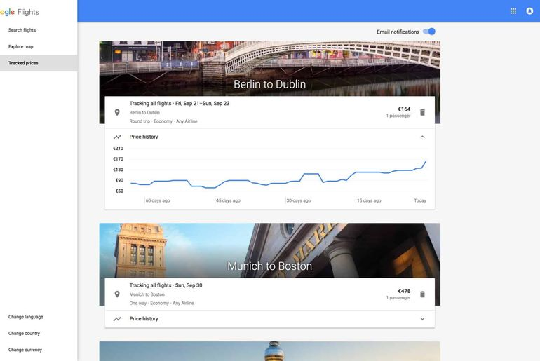 Capture d'écran de Google Flights 2.0