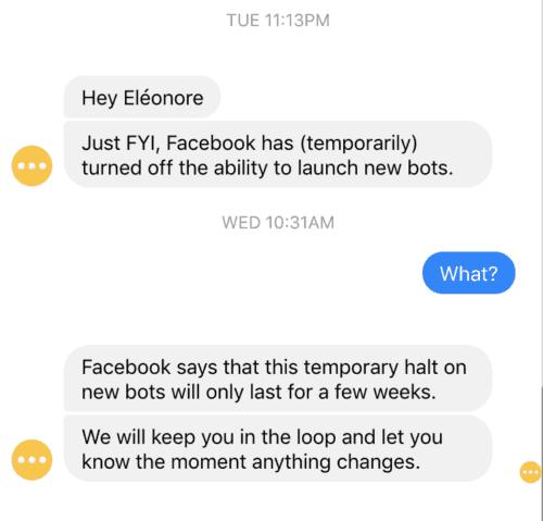 Facebook stop le lancement d'applications et de bot.