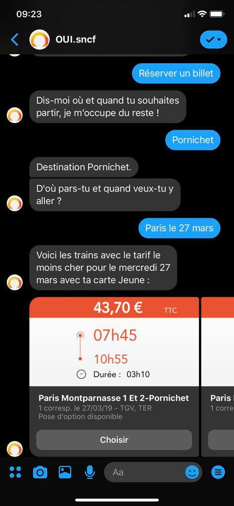 aperçu de OUI.bot le chatbot de la SNCF qui permet de réserver et payer un billet