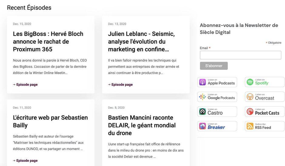 Capture d'écran de la page dédiée à Culture Numérique réalisée via Podpage.