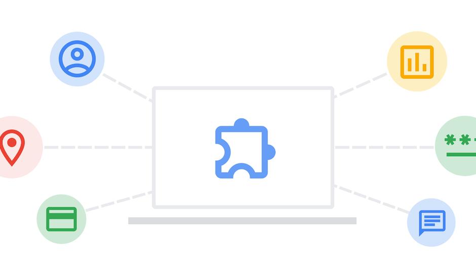 Illustration très sobre présentant un ordinateur avec une icône en pièce de puzzle, et plusieurs autres pointant vers l'écran de l'ordinateur, symbolisant la collecte de données des extensions Chrome