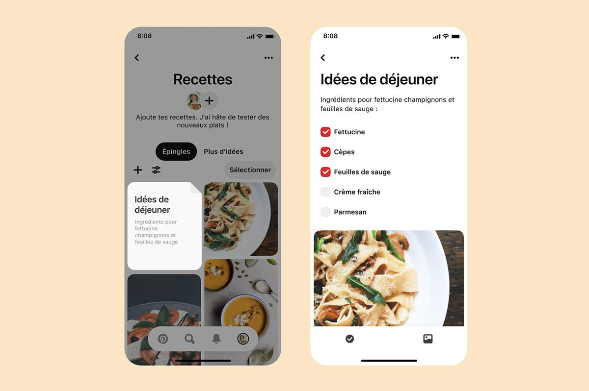 "L'interface Pinterest de la fonctionnalité ""notes""."