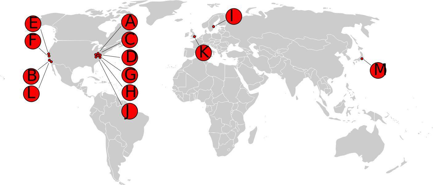 Carte historique du serveur racine du DNS