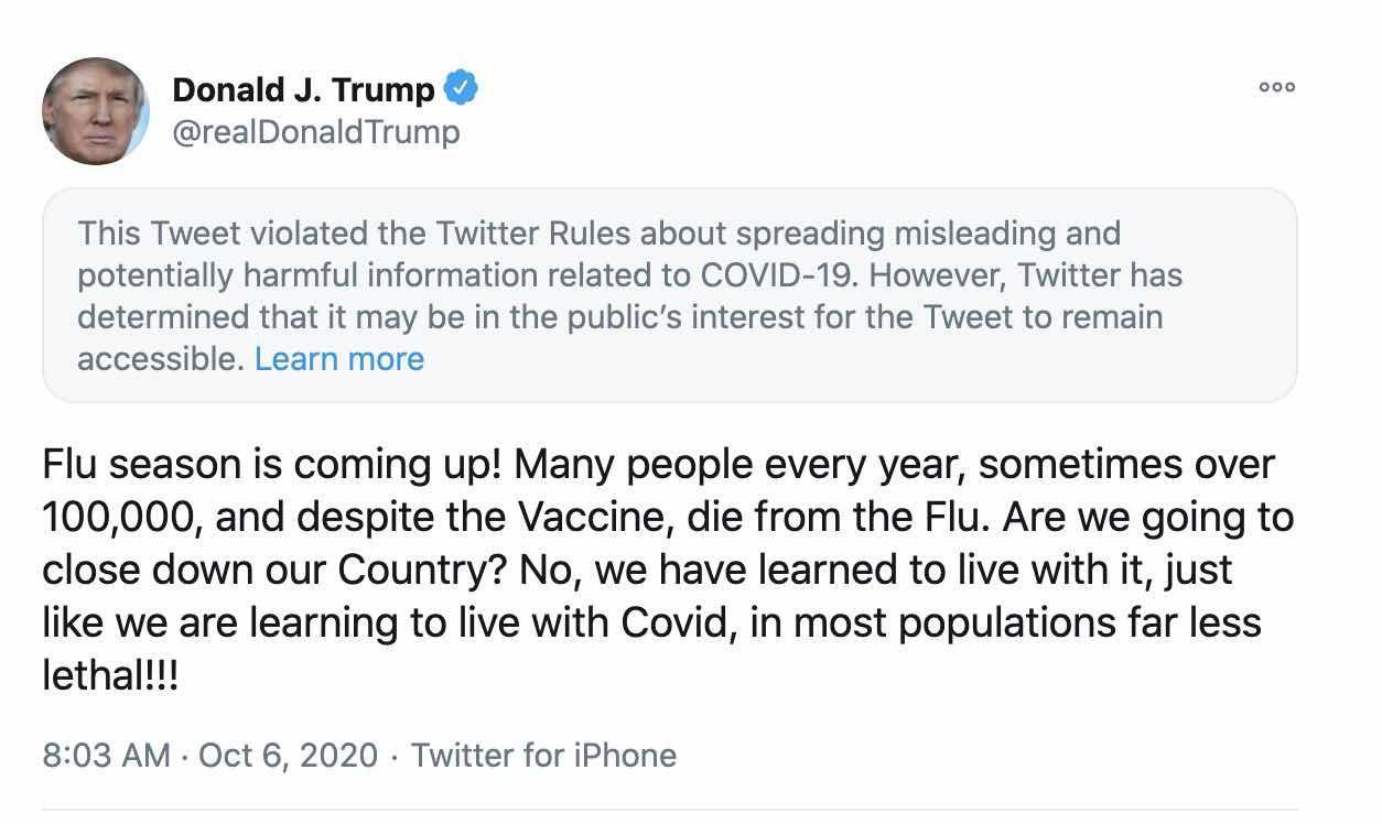 Le tweet du président Trump.