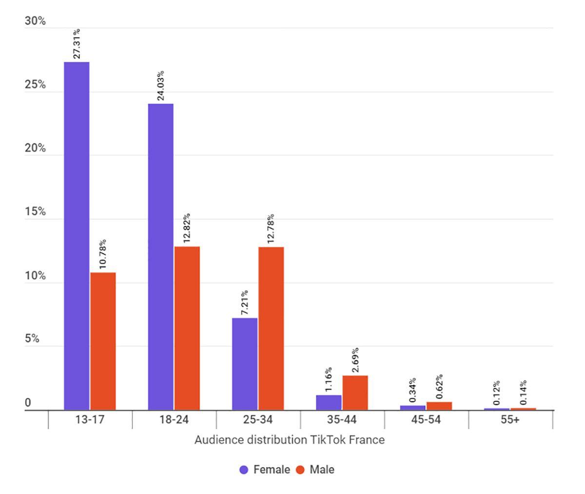 Un graphique de l'audience des influenceurs TikTok en France.