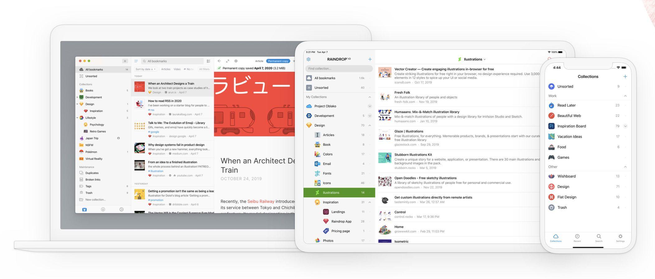 aperçu de Raindrop.io sur mobile, ordinateur et tablette