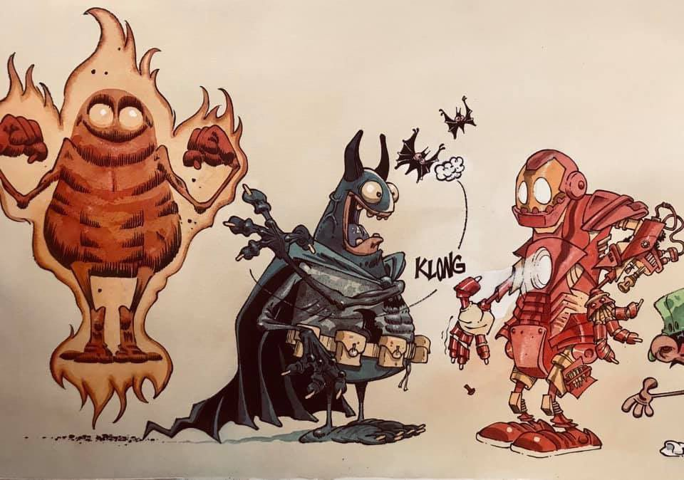 midam super heros iron man batman human torch
