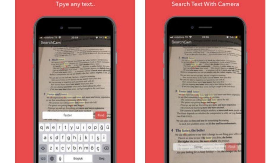 SearchCam est une app qui permet de détecter le texte dans la vie réelle