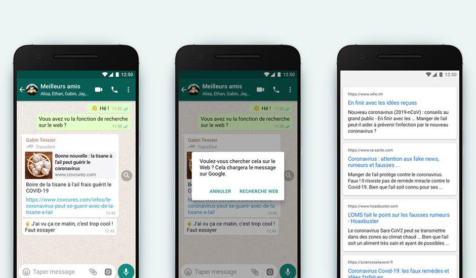 Aperçus de la fonctionnalité WhatsApp pour débusquer les fake news.