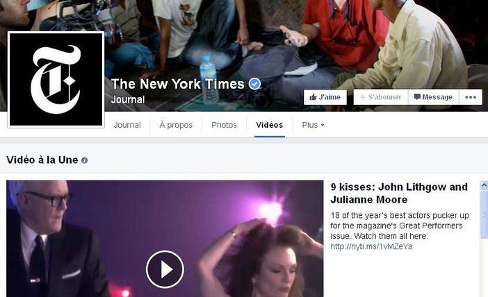 La chaîne vidéo Facebook du New-York Times