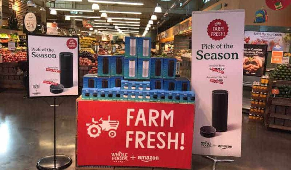 Enceintes Amazon Echo dans un magasin Whole Foods