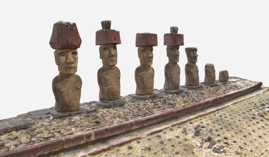 Représentation des statues de l'île de Pâques