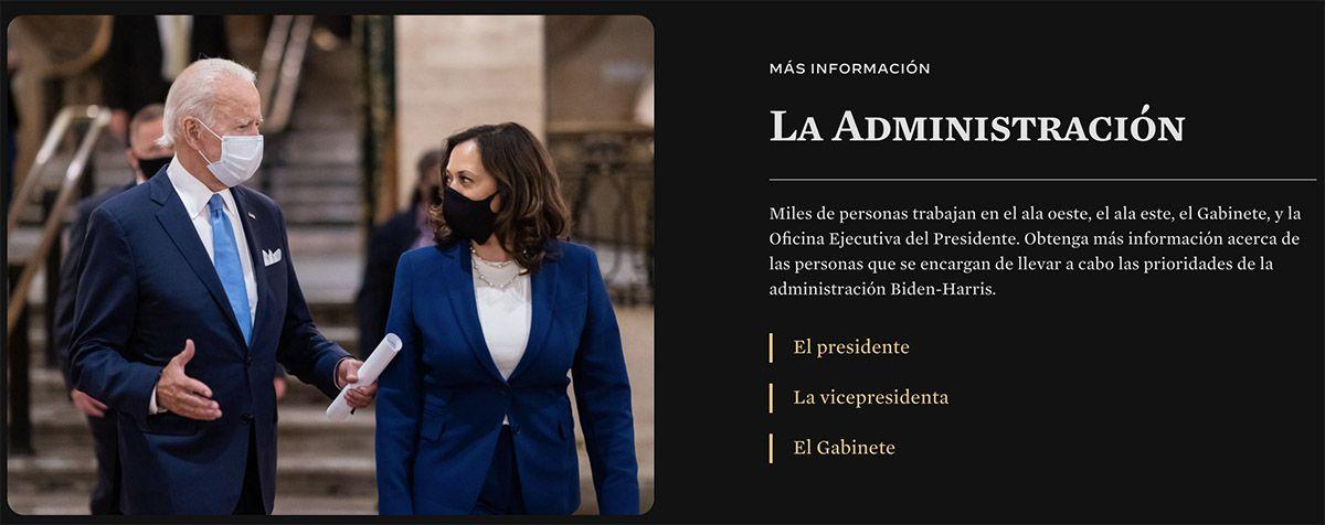 Le site de la Maison Blanche en mode espagnol.