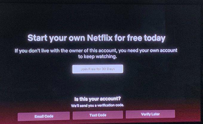 Aperçu du message d'avertissement invitant les utilisateurs à vérifier leur accès à un compte Netflix.