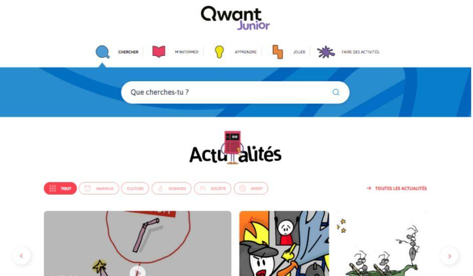 La nouvelle page de Qwant Junior