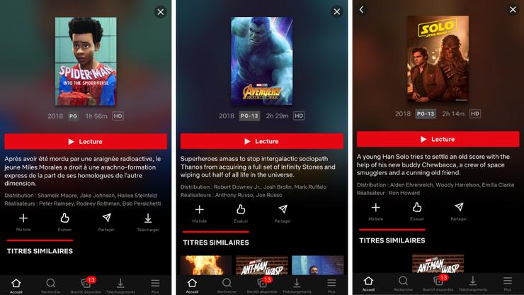 Captures d'écran du catalogue de Netflix aux États-Unis