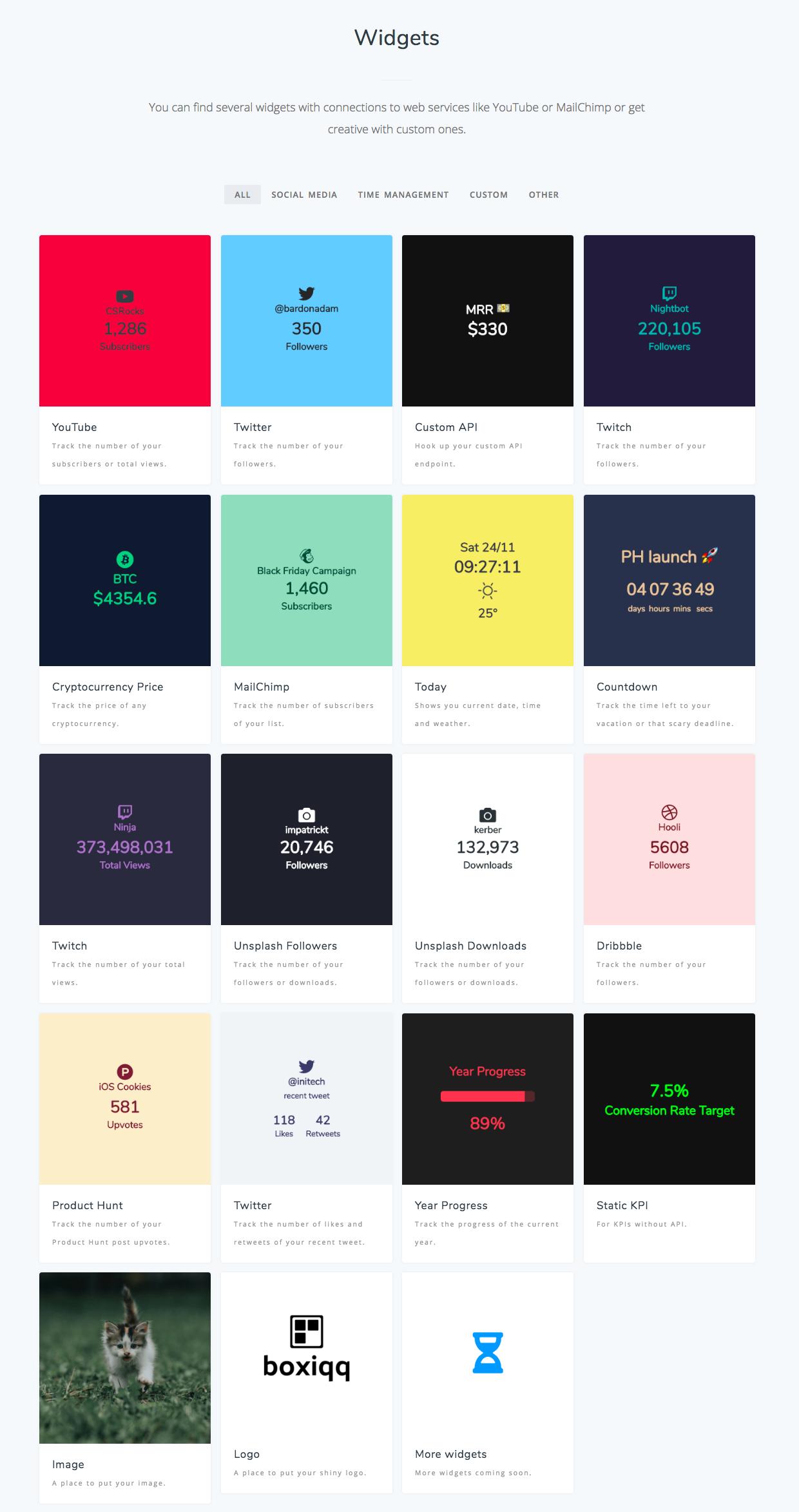 Catalogue de widgets pour personnaliser son dashboard boxiqq