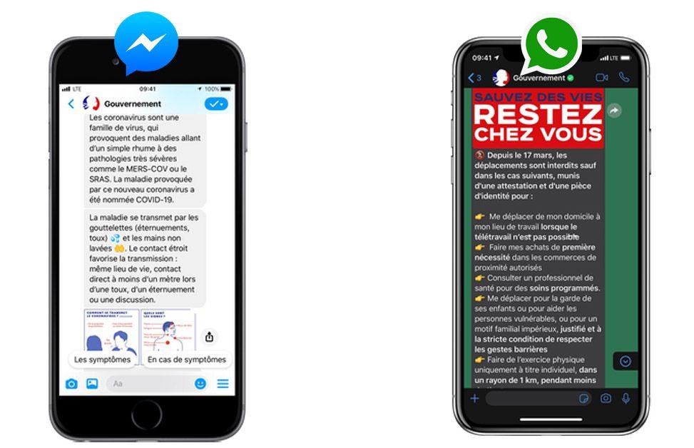 Coronavirus : les chatbots gouvernementaux Messenger et Whatsapp pour lutter contre la désinformation.