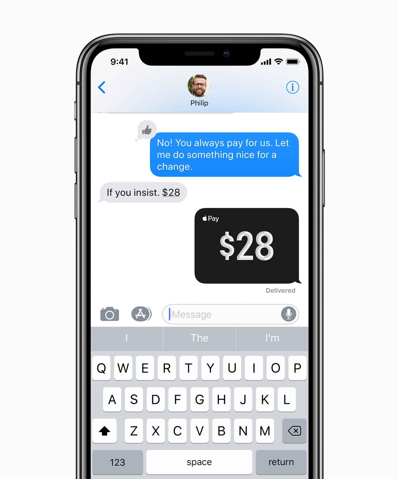 Apple Pay Cash : aperçu de iMessage