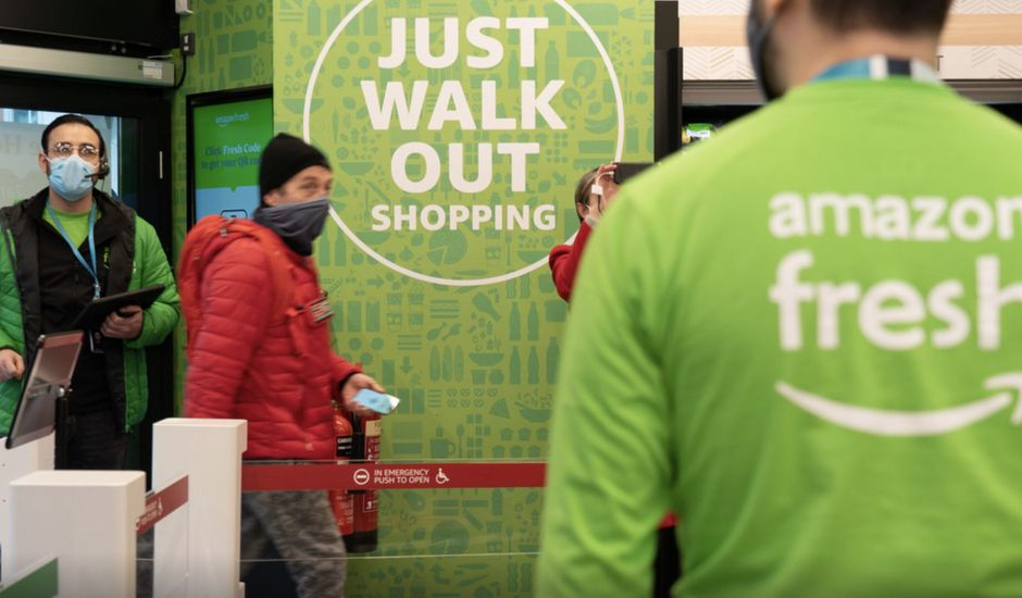 Aperçu du supermarché Amazon Fresh à Londres.