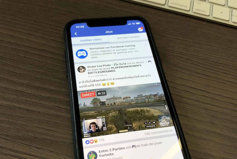 facebook gaming sur iOS iPhone X