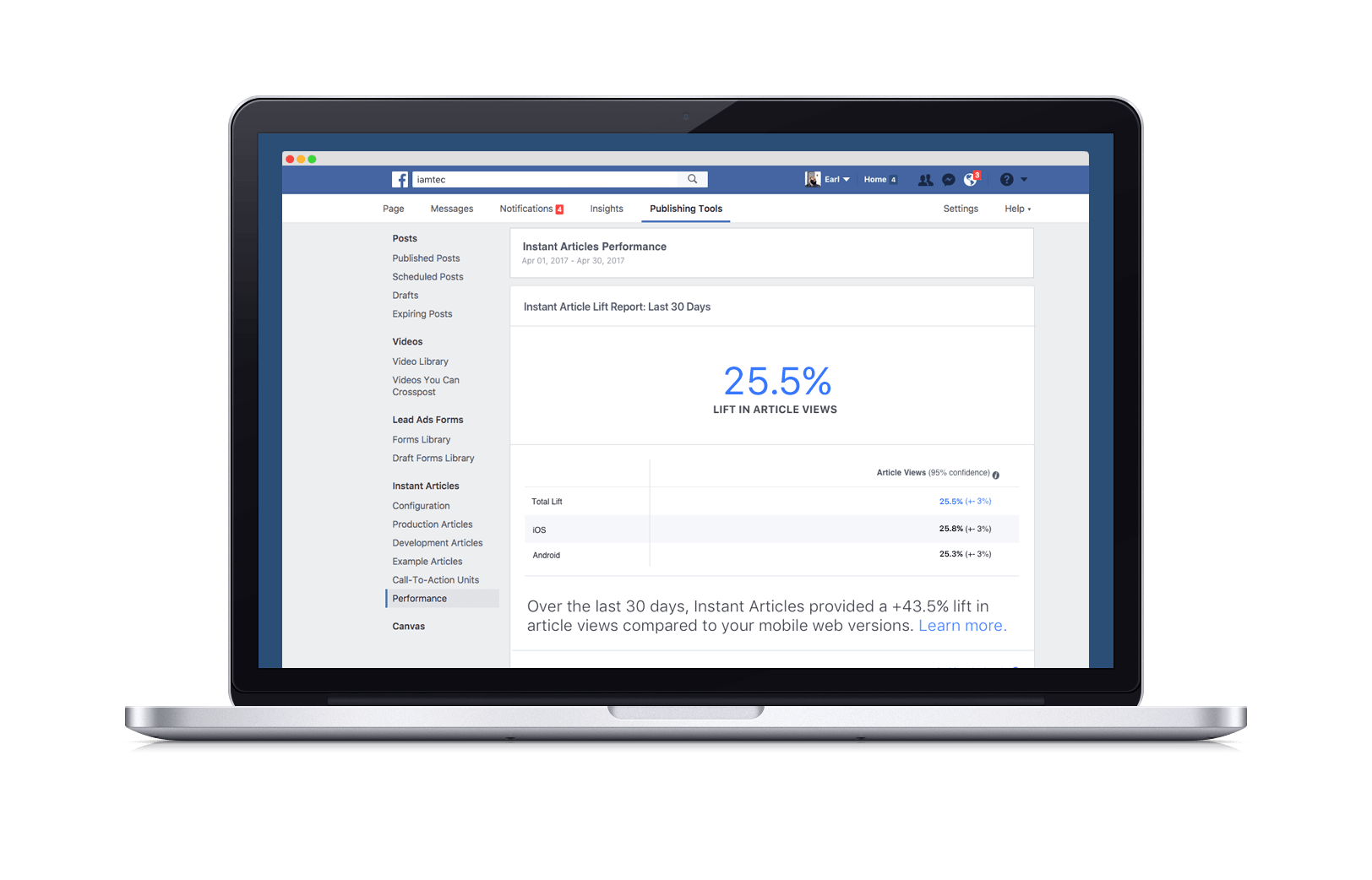 Instant Articles de Facebook avec son dashboard Analytics