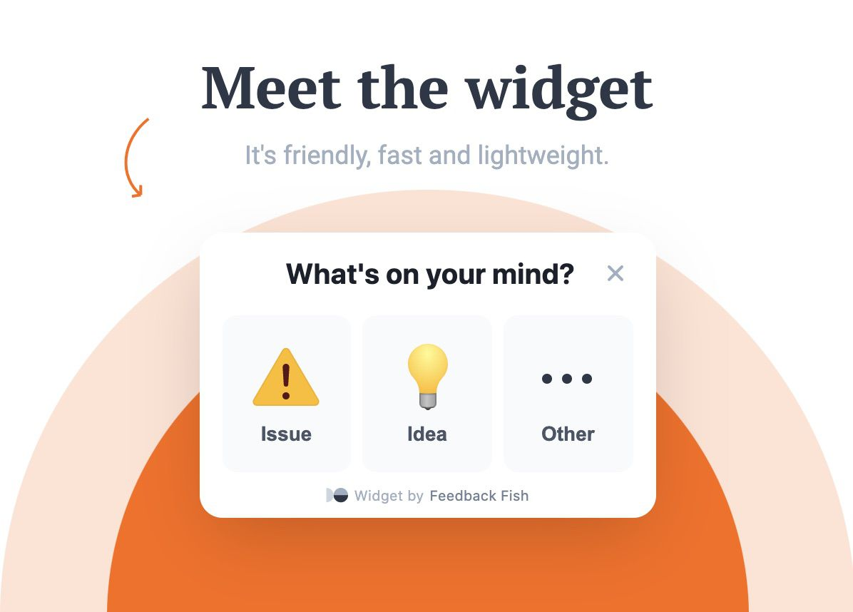 design du widget Feedback Fish
