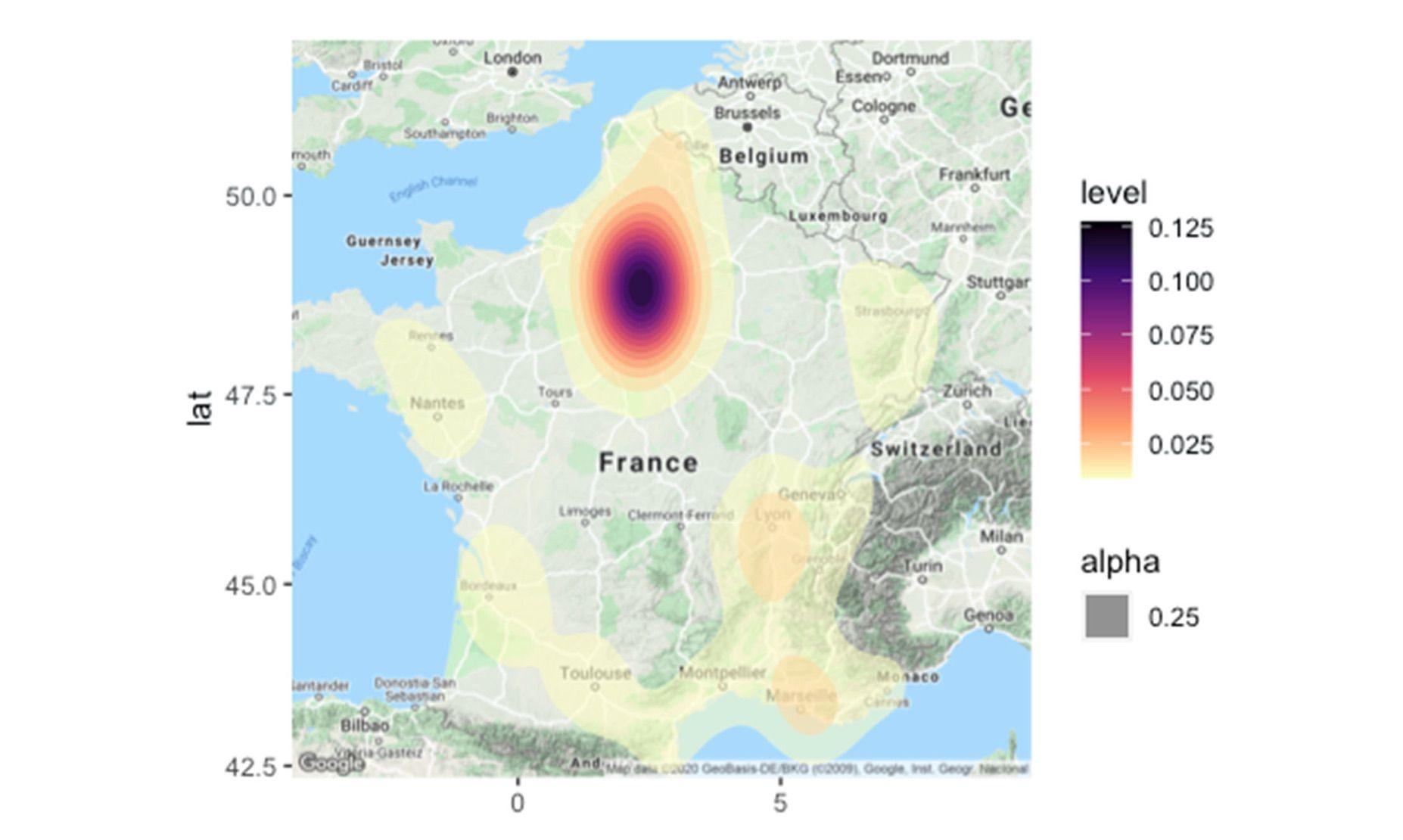 Carte présentant la répartition géographiques des appels reçus par AlloCovid. On remarque une forte concentration en Île-de-France.
