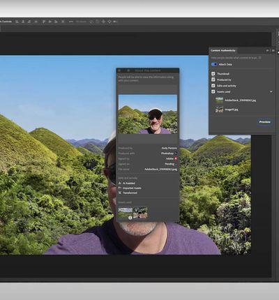 Une capture d'écran montrant le nouvel outil d'attribution intégré à Photoshop.