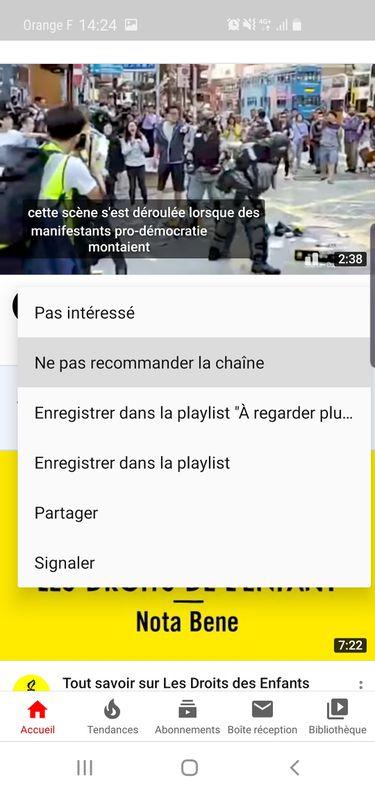 "Screenshot YouTube ""ne pas recommander la chaîne"""